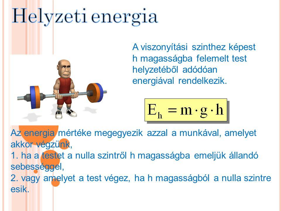A viszonyítási szinthez képest h magasságba felemelt test helyzetéből adódóan energiával rendelkezik. Az energia mértéke megegyezik azzal a munkával,