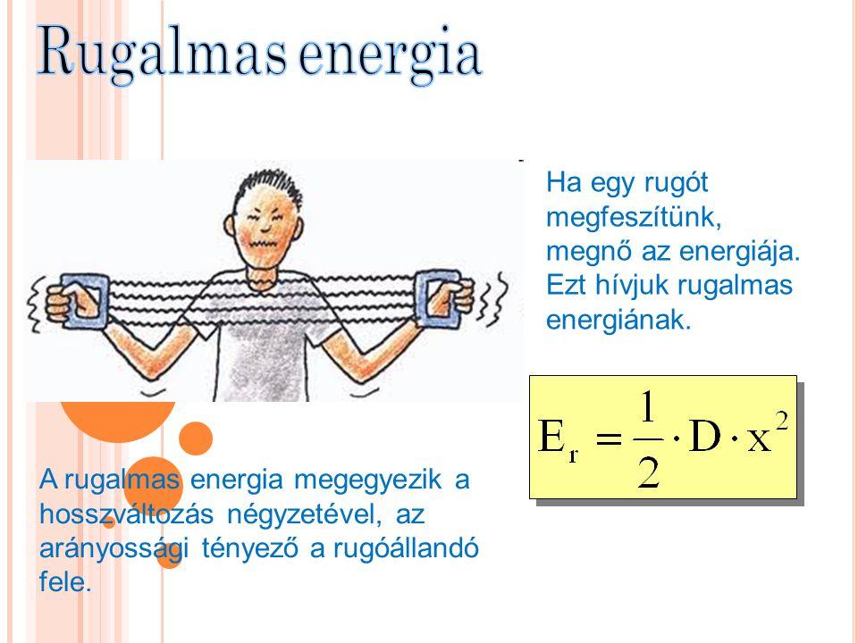 Ha egy rugót megfeszítünk, megnő az energiája. Ezt hívjuk rugalmas energiának. A rugalmas energia megegyezik a hosszváltozás négyzetével, az arányossá