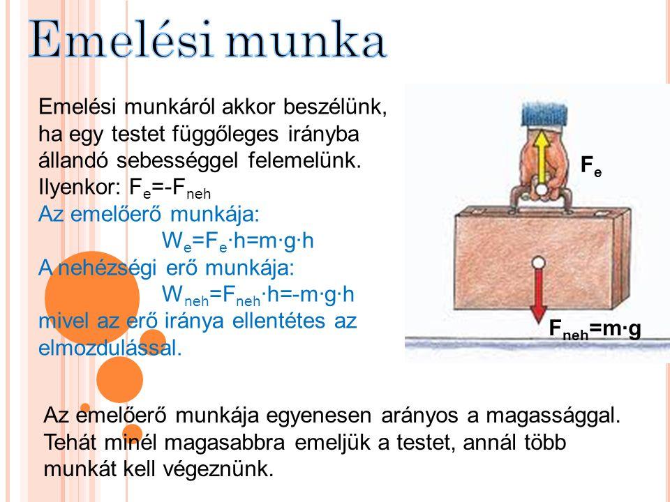 Emelési munkáról akkor beszélünk, ha egy testet függőleges irányba állandó sebességgel felemelünk. Ilyenkor: F e =-F neh Az emelőerő munkája: W e =F e