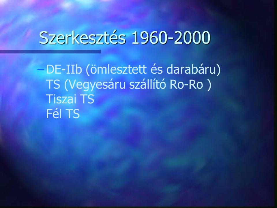 Szerkesztés 1960-2000 – –DE-IIb (ömlesztett és darabáru) TS (Vegyesáru szállító Ro-Ro ) Tiszai TS Fél TS