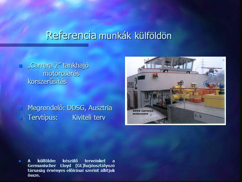 """Referencia munkák külföldön n 200 személyes dunai személyhajó n 200 személyes dunai személyhajó Ajánlati terv n n Főméretek: Megrendelő: n n Legnagyobb hossz : 109,00 m RL Fastighetskonsult Vízvonalhossz : 103,80 m AB, Svédország n n Legnagyobb szélesség : 15,20 m Oldalmagasság : 2,00 m n n Tervezett legnagyobb merülés (CWL): 1,60 m n n Fixpontmagasság az alapvonal felett : 10,10 m n """"Bárka sorozat kiviteli terv, n """"Bárka sorozat kiviteli terv, Főméretek: Megrendelő: RL Fastighetskonsult AB, Svédország n n Hossz : 24,00m, 28,50m, 37,50m, 42,00m n n Szélesség: 12 m n n Oldalmagasság: 3,00 m n n A külföldre készülő terveinket a Germanischer Lloyd (GL)hajóosztályozó társaság érvényes előírásai szerint állítjuk össze."""