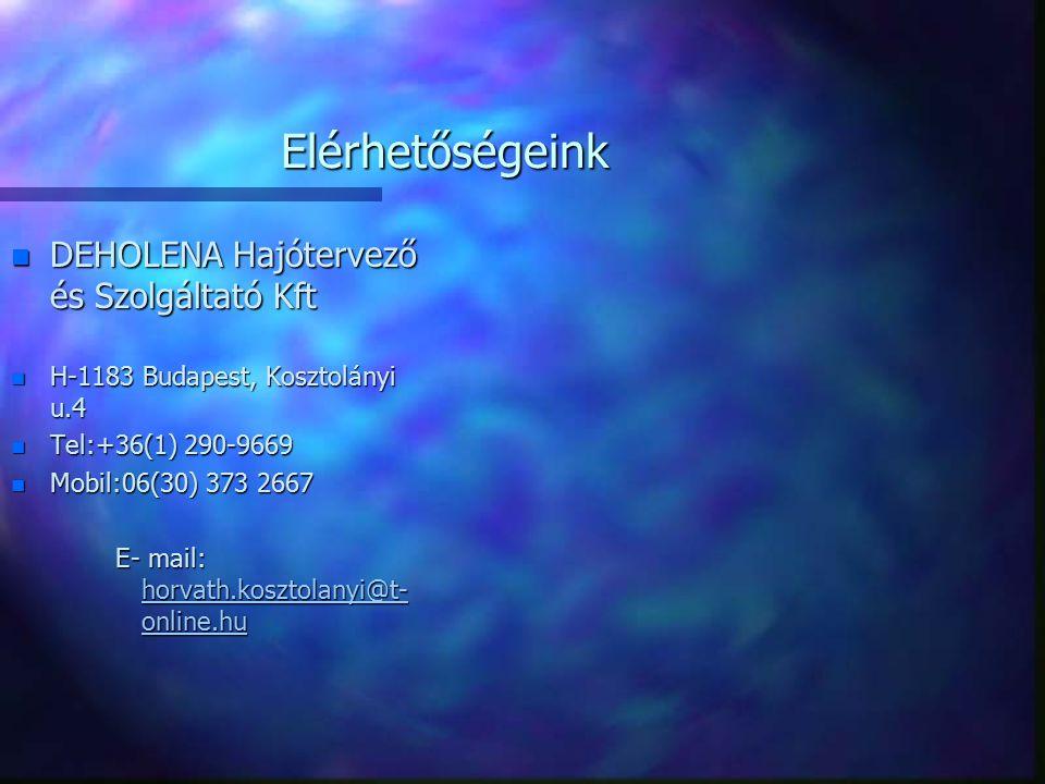 Elérhetőségeink n DEHOLENA Hajótervező és Szolgáltató Kft n H-1183 Budapest, Kosztolányi u.4 n Tel:+36(1) 290-9669 n Mobil:06(30) 373 2667 E- mail: ho
