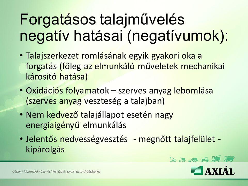 Forgatásos talajművelés negatív hatásai (negatívumok): Talajszerkezet romlásának egyik gyakori oka a forgatás (főleg az elmunkáló műveletek mechanikai