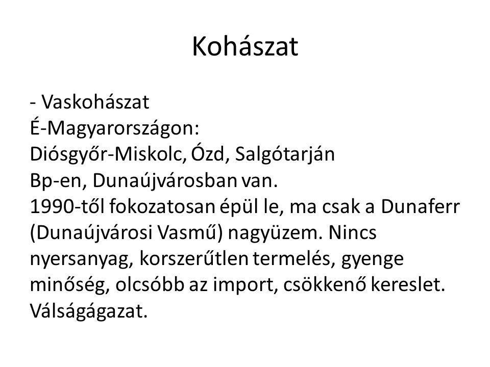 Kohászat - Vaskohászat É-Magyarországon: Diósgyőr-Miskolc, Ózd, Salgótarján Bp-en, Dunaújvárosban van. 1990-től fokozatosan épül le, ma csak a Dunafer