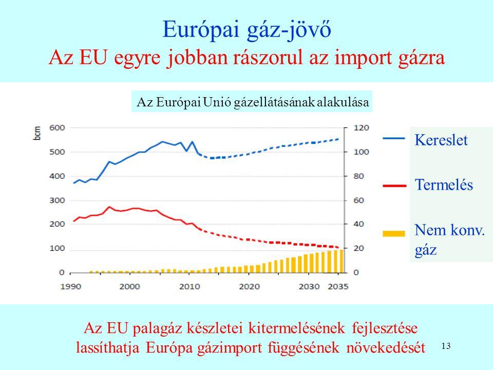 12 Az Északi Áramlat és az Opal gázvezeték Ha leáll a Testvériség, akkor a Nord Streamen (55 Mrd m 3 ) és az Opalon (35 Mrd m 3 ) keresztül jöhet orosz gáz Közép-Európába OPAL = Ostsee-Pipeline-Anbindungs-Leitung Az Opal az Északi Áramlat gázát szállítja Csehországba