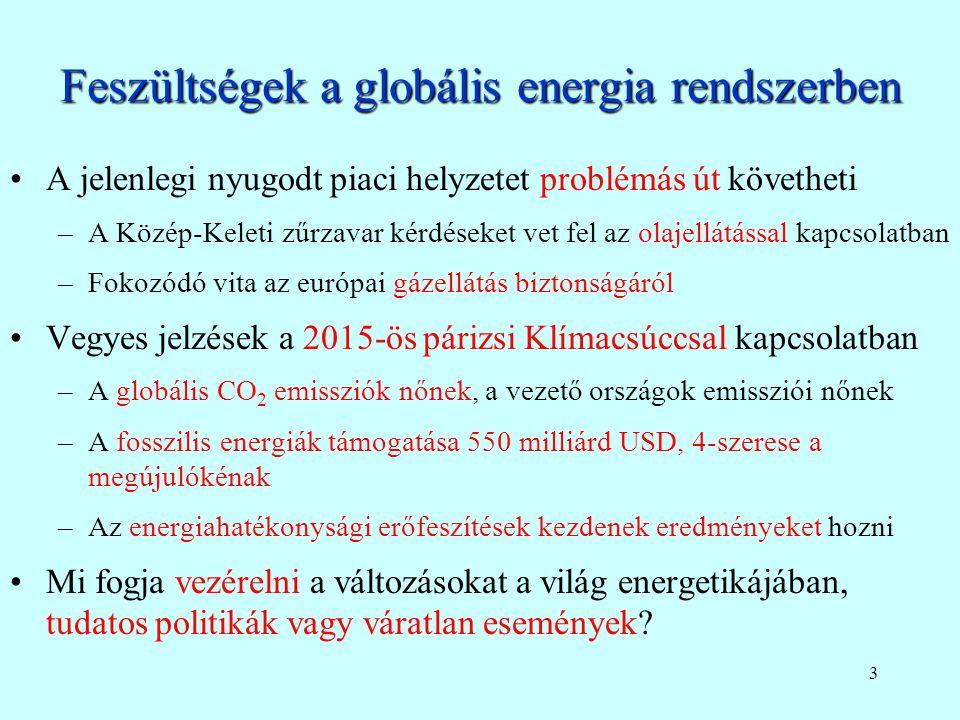 3 Feszültségek a globális energia rendszerben A jelenlegi nyugodt piaci helyzetet problémás út követheti –A Közép-Keleti zűrzavar kérdéseket vet fel az olajellátással kapcsolatban –Fokozódó vita az európai gázellátás biztonságáról Vegyes jelzések a 2015-ös párizsi Klímacsúccsal kapcsolatban –A globális CO 2 emissziók nőnek, a vezető országok emissziói nőnek –A fosszilis energiák támogatása 550 milliárd USD, 4-szerese a megújulókénak –Az energiahatékonysági erőfeszítések kezdenek eredményeket hozni Mi fogja vezérelni a változásokat a világ energetikájában, tudatos politikák vagy váratlan események?