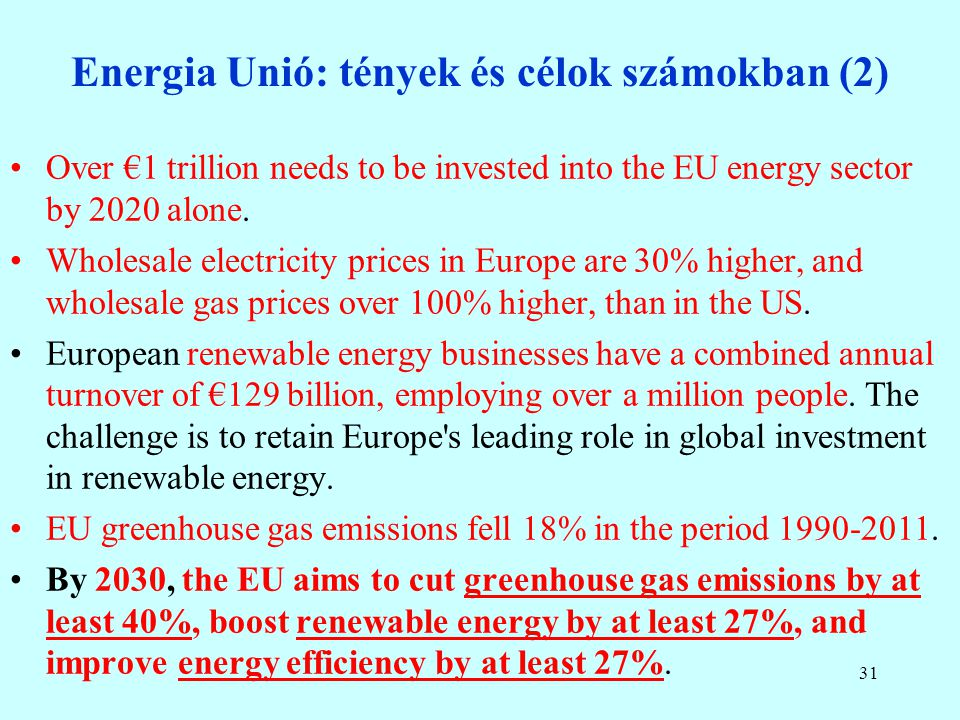 Energia Unió: tények és célok számokban (1) The EU is the largest energy importer in the world, importing 53% of its energy, at an annual cost of arou