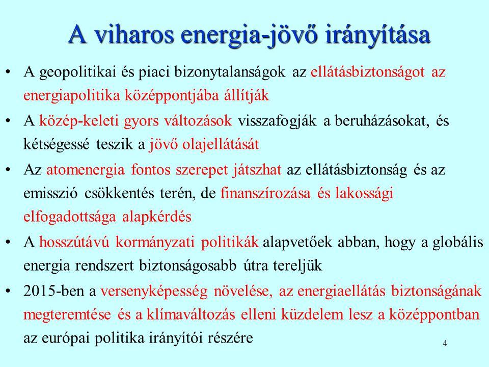 24 Belső dimenzió, folytatás Energiatechnológiák fejlesztése A teljes mértékben integrált energiapiac –Az EU minden területét lefedő, integrált és versenyképes villamos energia és gázpiac kialakítása, beleértve a kapacitáspiacokat; –Az átlátható, jól működő és teljes mértékben integrált gáz és villamos energia piac kialakításának egyik legfontosabb eleme a Harmadik Energiacsomag alkalmazása; –Javaslat arra vonatkozóan, hogy a tagállamok között a villamos energia összekapcsolás legalább legyen 10%-os 2020-ra és 15 %-os 2030-ra.