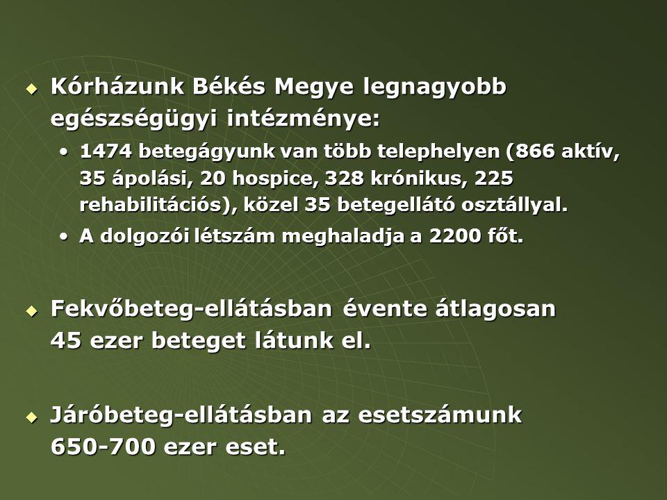  Kórházunk Békés Megye legnagyobb egészségügyi intézménye: 1474 betegágyunk van több telephelyen (866 aktív, 35 ápolási, 20 hospice, 328 krónikus, 225 rehabilitációs), közel 35 betegellátó osztállyal.1474 betegágyunk van több telephelyen (866 aktív, 35 ápolási, 20 hospice, 328 krónikus, 225 rehabilitációs), közel 35 betegellátó osztállyal.