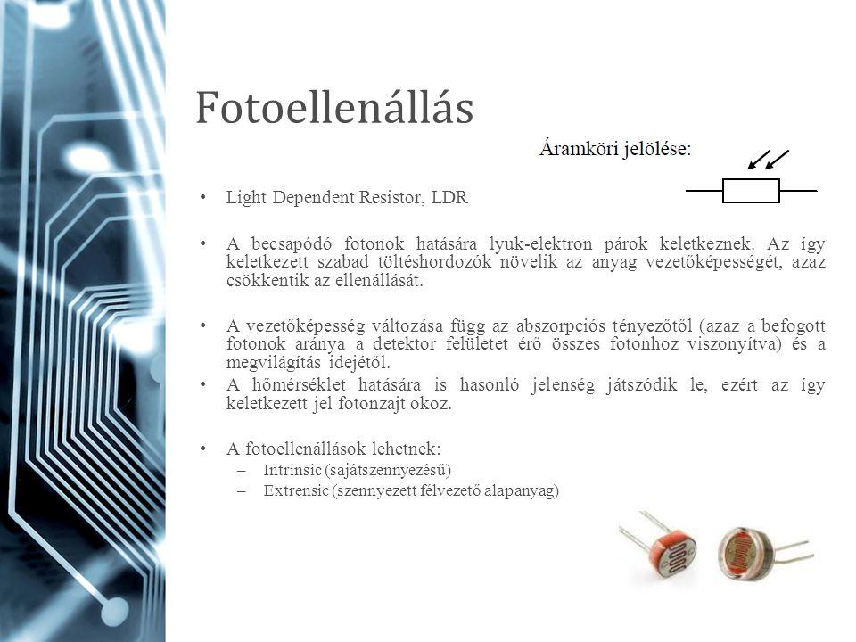 Fotoellenállás Light Dependent Resistor, LDR A becsapódó fotonok hatására lyuk-elektron párok keletkeznek. Az így keletkezett szabad töltéshordozók nö
