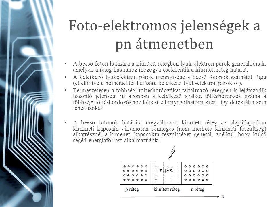 Foto-elektromos jelenségek a pn átmenetben A beeső foton hatására a kiürített rétegben lyuk-elektron párok generálódnak, amelyek a réteg határához moz