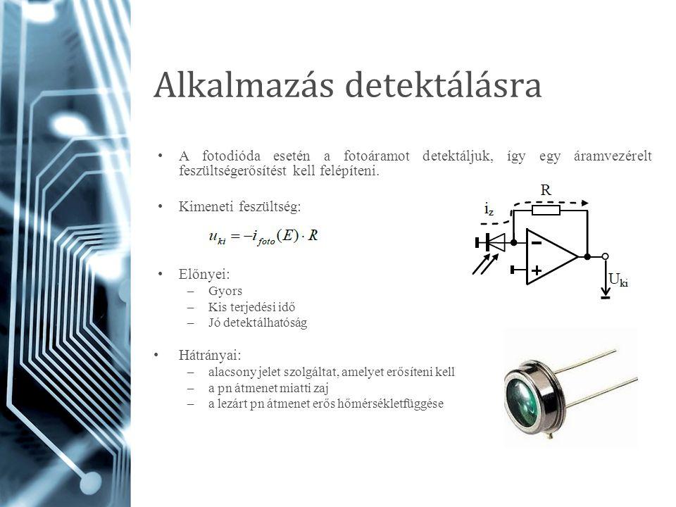 Alkalmazás detektálásra A fotodióda esetén a fotoáramot detektáljuk, így egy áramvezérelt feszültségerősítést kell felépíteni. Kimeneti feszültség: El