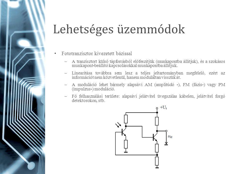 Lehetséges üzemmódok Fototranzisztor kivezetett bázissal –A tranzisztort külső tápforrásból előfeszítjük (munkapontba állítjuk), és a szokásos munkapo