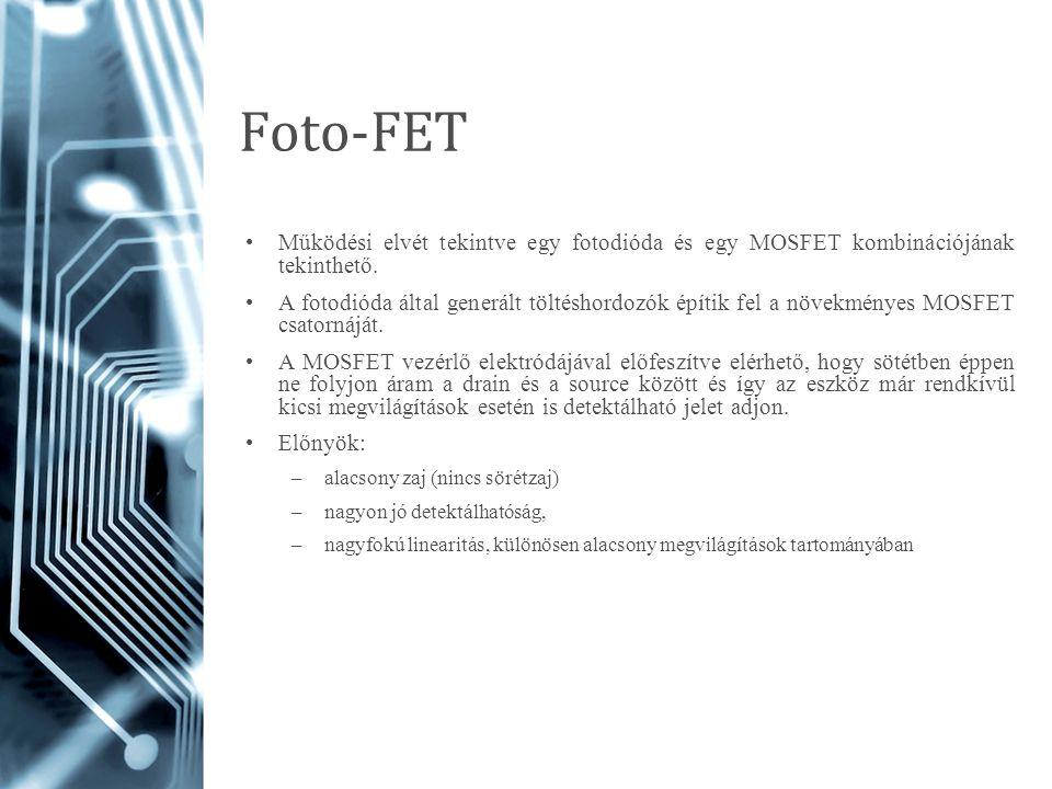 Foto-FET Működési elvét tekintve egy fotodióda és egy MOSFET kombinációjának tekinthető. A fotodióda által generált töltéshordozók építik fel a növekm