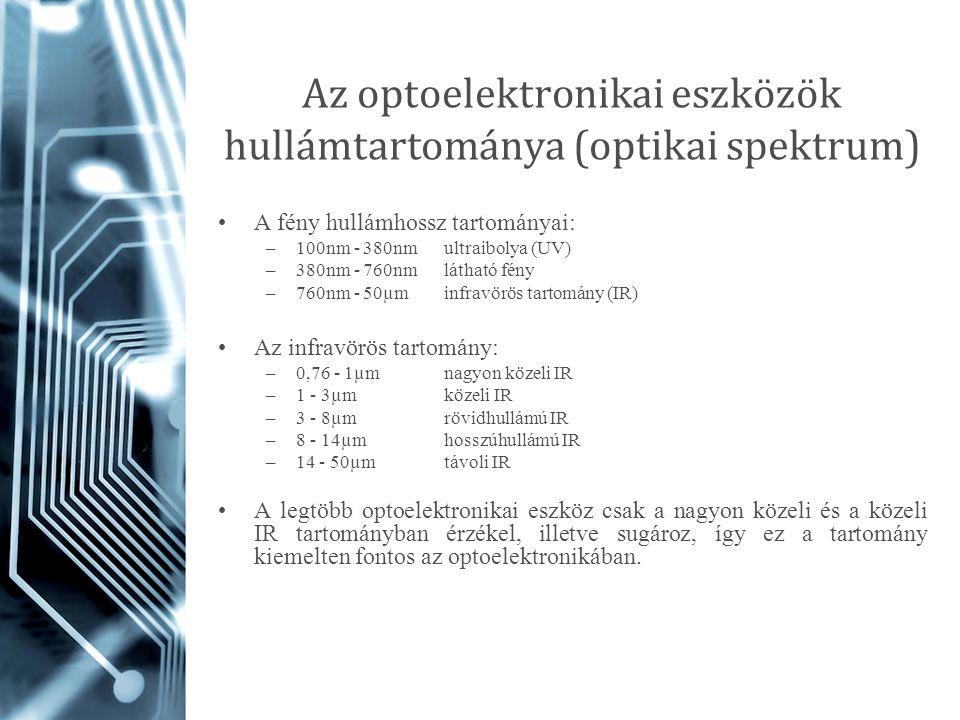 Az optoelektronikai eszközök hullámtartománya (optikai spektrum) A fény hullámhossz tartományai: –100nm - 380nm ultraibolya (UV) –380nm - 760nm láthat