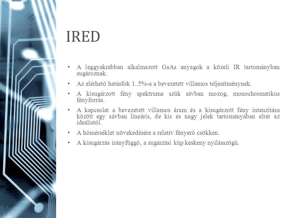 IRED A leggyakrabban alkalmazott GaAs anyagok a közeli IR tartományban sugároznak. Az elérhető hatásfok 1..5%-a a bevezetett villamos teljesítménynek.