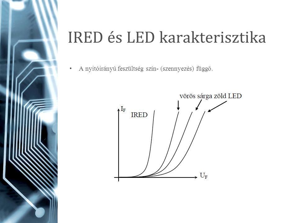 IRED és LED karakterisztika A nyitóirányú feszültség szín- (szennyezés) függő.