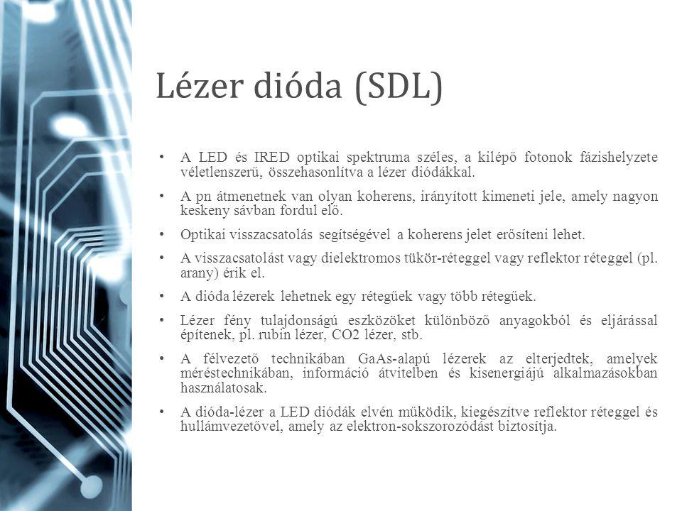 Lézer dióda (SDL) A LED és IRED optikai spektruma széles, a kilépő fotonok fázishelyzete véletlenszerű, összehasonlítva a lézer diódákkal. A pn átmene