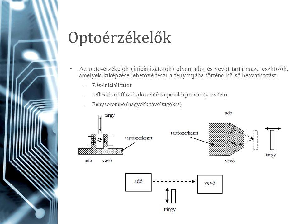 Optoérzékelők Az opto-érzékelők (inicializátorok) olyan adót és vevőt tartalmazó eszközök, amelyek kiképzése lehetővé teszi a fény útjába történő küls