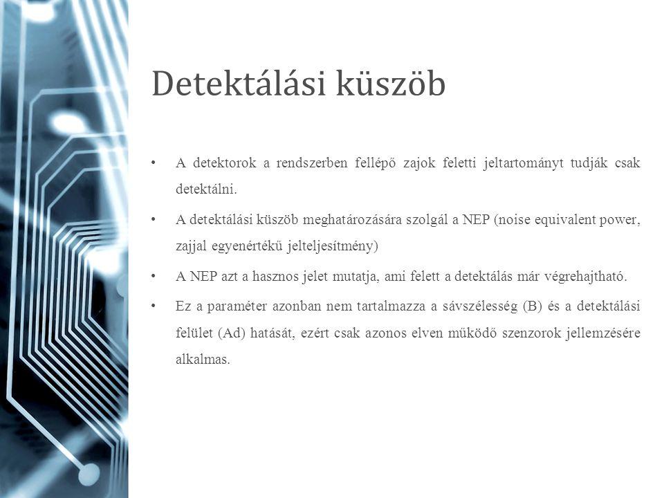 Detektálási küszöb A detektorok a rendszerben fellépő zajok feletti jeltartományt tudják csak detektálni. A detektálási küszöb meghatározására szolgál
