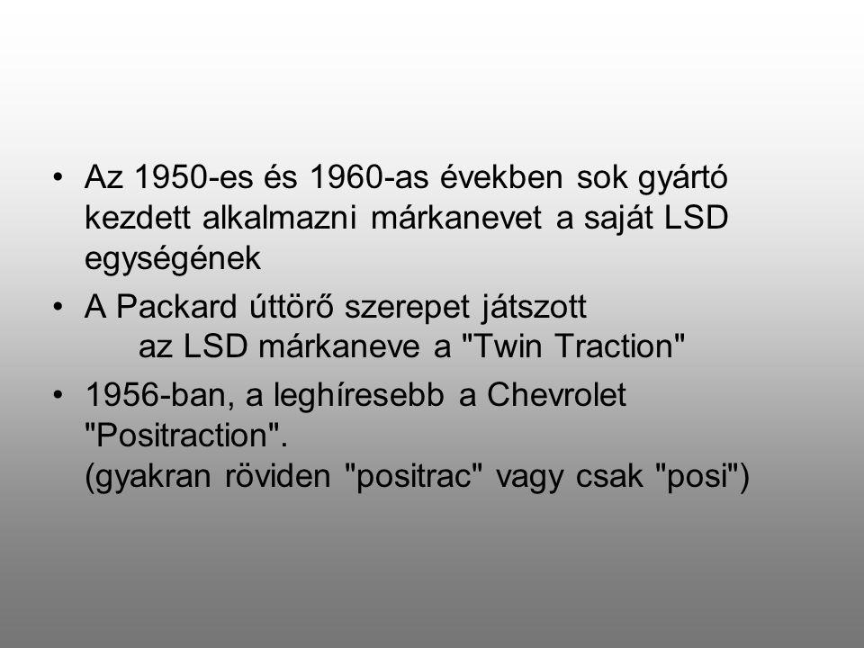 Az 1950-es és 1960-as években sok gyártó kezdett alkalmazni márkanevet a saját LSD egységének A Packard úttörő szerepet játszott az LSD márkaneve a