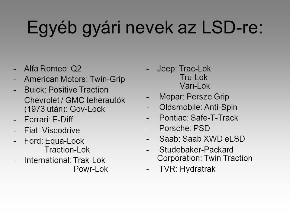 Egyéb gyári nevek az LSD-re: -Alfa Romeo: Q2 -American Motors: Twin-Grip -Buick: Positive Traction -Chevrolet / GMC teherautók (1973 után): Gov-Lock -