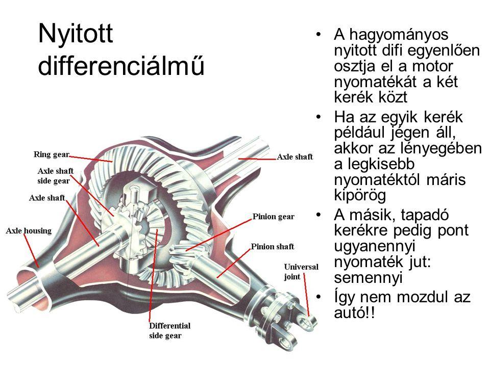 Nyitott differenciálmű A hagyományos nyitott difi egyenlően osztja el a motor nyomatékát a két kerék közt Ha az egyik kerék például jégen áll, akkor a