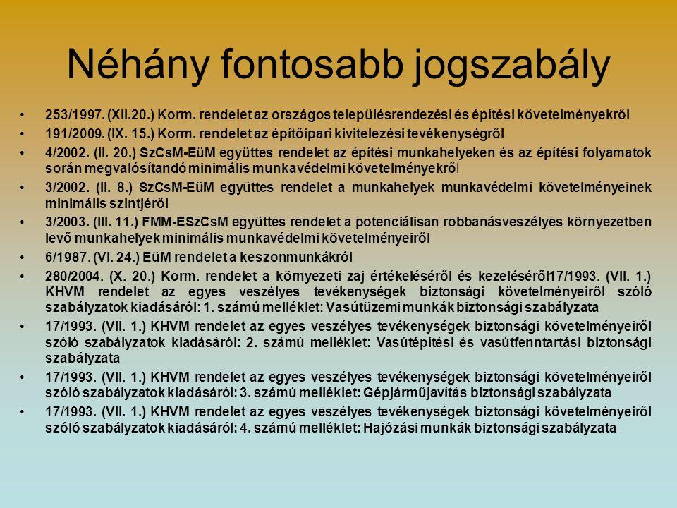 Néhány fontosabb jogszabály 253/1997. (XII.20.) Korm. rendelet az országos településrendezési és építési követelményekről 191/2009. (IX. 15.) Korm. re