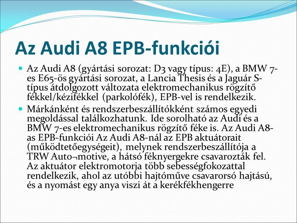 Az Audi A8 EPB-funkciói Az Audi A8 (gyártási sorozat: D3 vagy típus: 4E), a BMW 7- es E65-ös gyártási sorozat, a Lancia Thesis és a Jaguár S- típus át