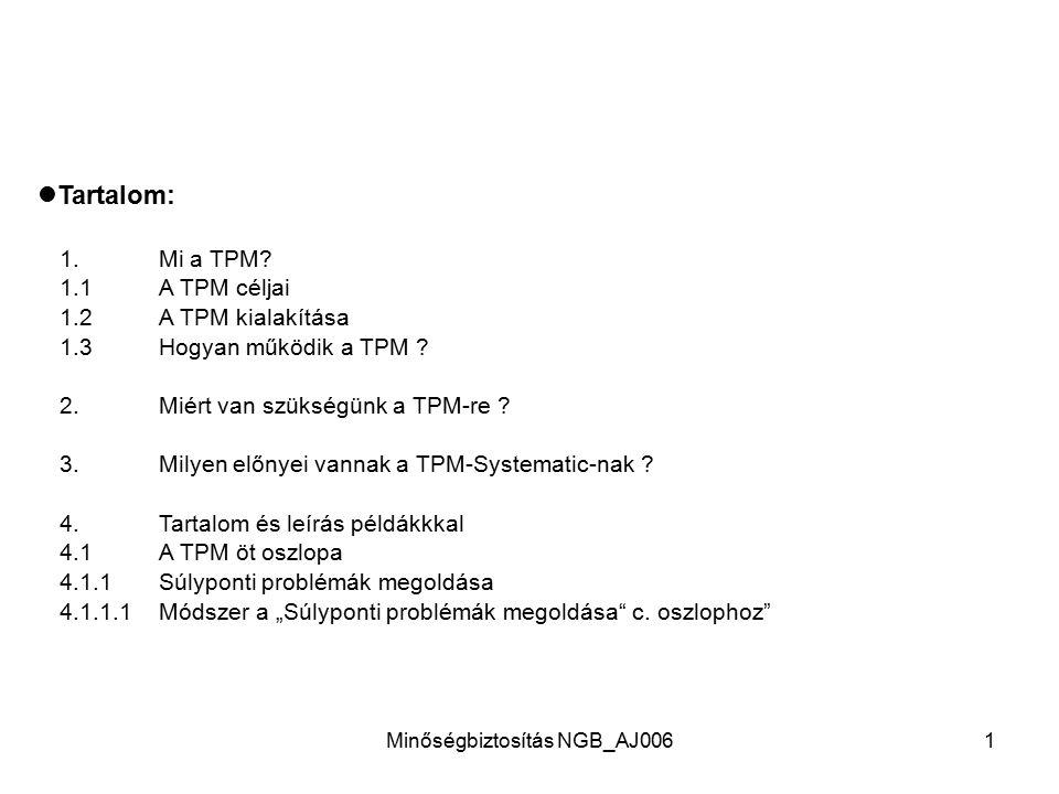Minőségbiztosítás NGB_AJ0061 Tartalom: 1.Mi a TPM.