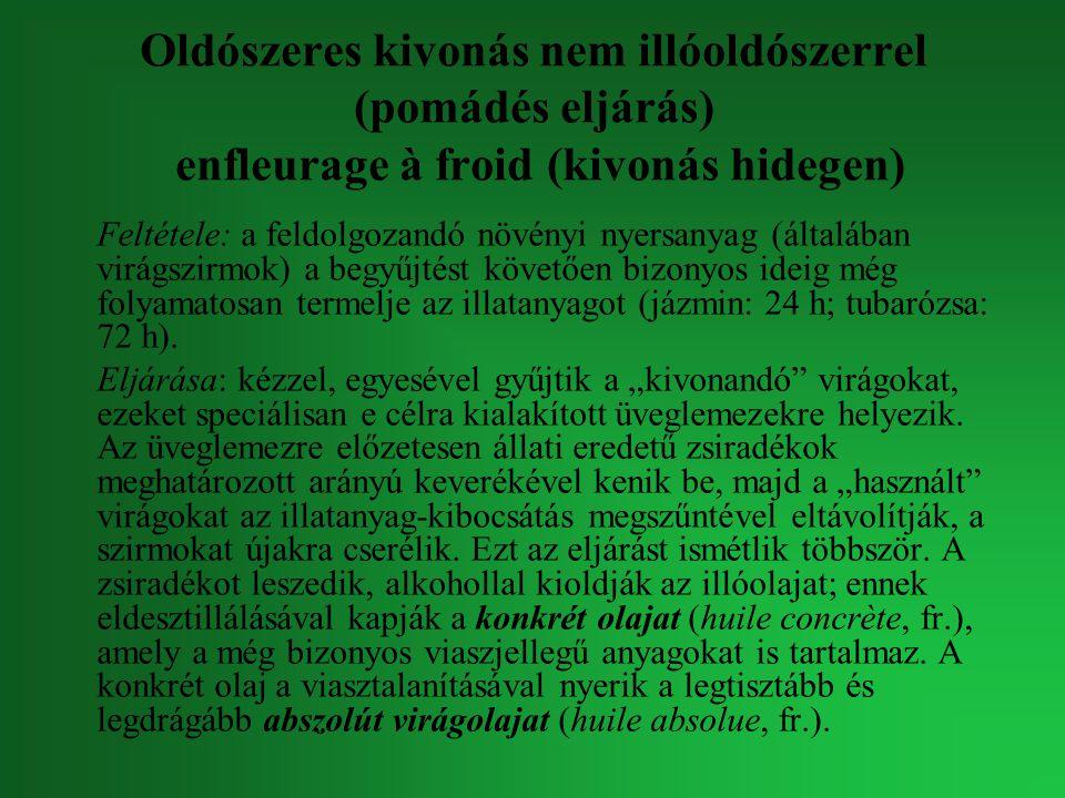 Oldószeres kivonás nem illóoldószerrel (pomádés eljárás) enfleurage à froid (kivonás hidegen) Feltétele: a feldolgozandó növényi nyersanyag (általában