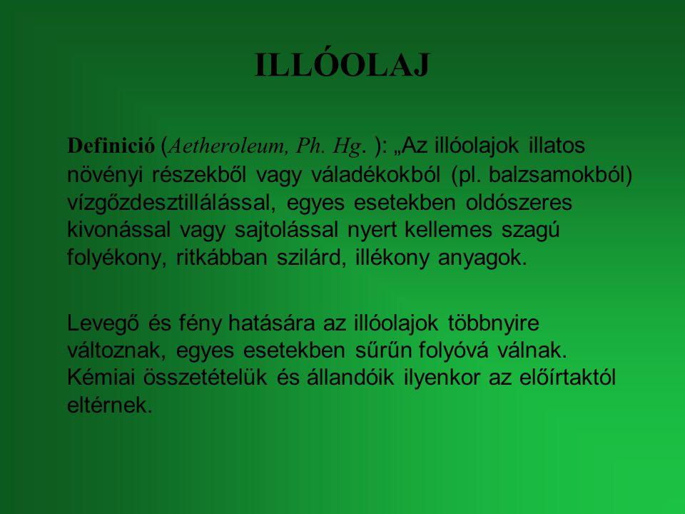 """ILLÓOLAJ Definició ( Aetheroleum, Ph. Hg. ): """"Az illóolajok illatos növényi részekből vagy váladékokból (pl. balzsamokból) vízgőzdesztillálással, egye"""