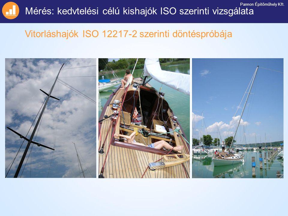 Vitorláshajók ISO 12217-2 szerinti döntéspróbája Mérés: kedvtelési célú kishajók ISO szerinti vizsgálata Pannon Építőműhely Kft.