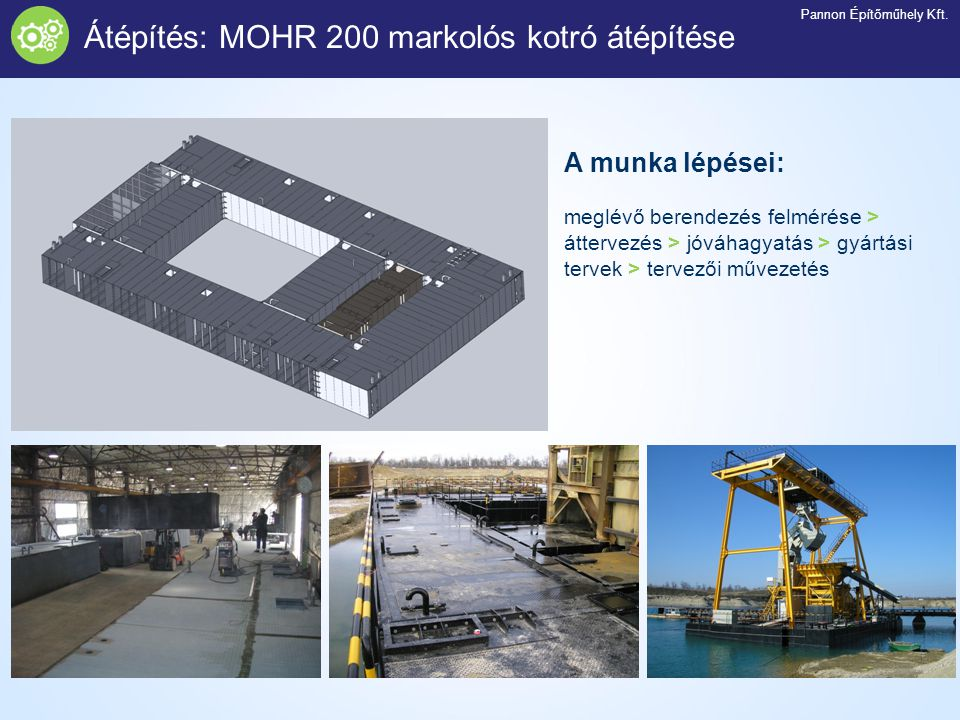 Átépítés: MOHR 200 markolós kotró átépítése A munka lépései: meglévő berendezés felmérése > áttervezés > jóváhagyatás > gyártási tervek > tervezői műv