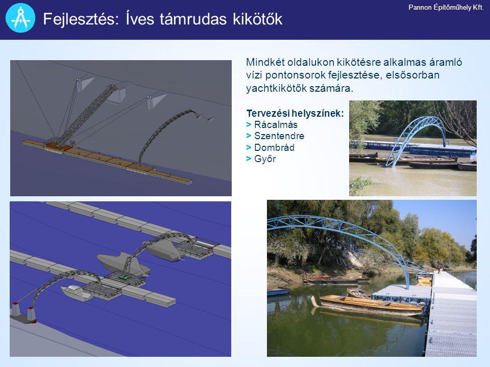Mindkét oldalukon kikötésre alkalmas áramló vízi pontonsorok fejlesztése, elsősorban yachtkikötők számára. Tervezési helyszínek: > Rácalmás > Szentend