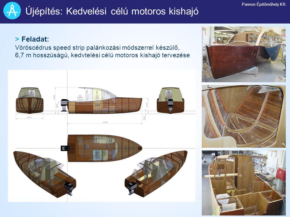 > Feladat: Vöröscédrus speed strip palánkozási módszerrel készülő, 6,7 m hosszúságú, kedvtelési célú motoros kishajó tervezése Újépítés: Kedvelési cél