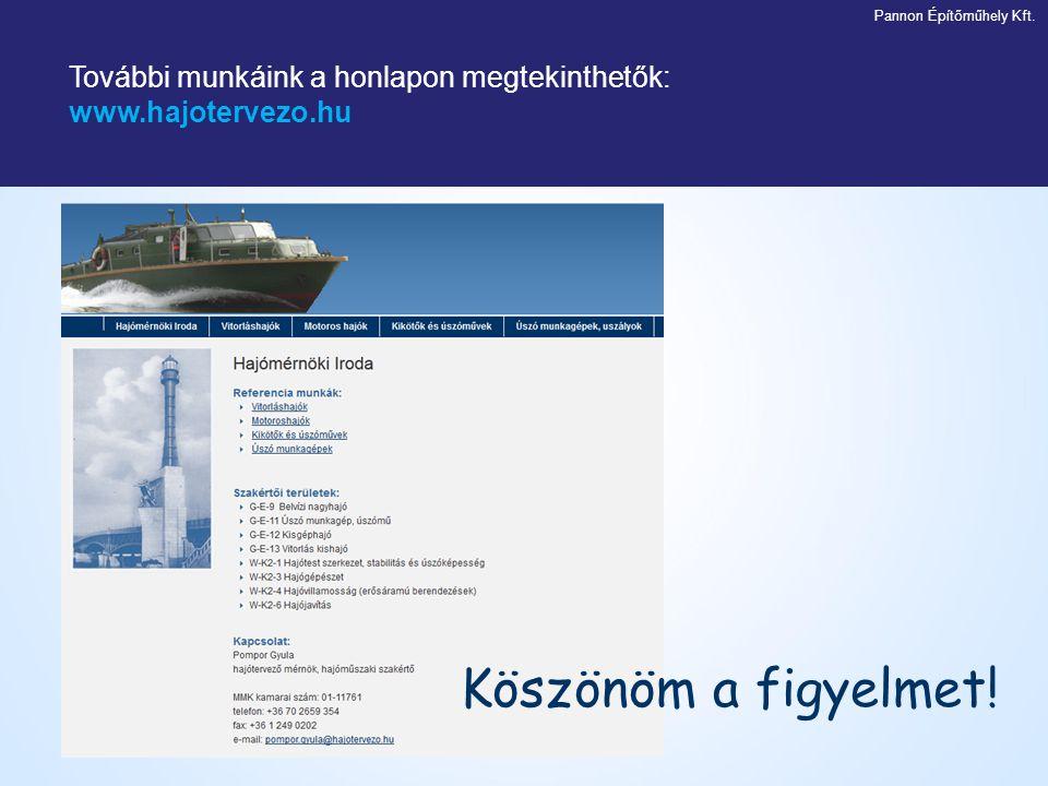 További munkáink a honlapon megtekinthetők: www.hajotervezo.hu Köszönöm a figyelmet! Pannon Építőműhely Kft.