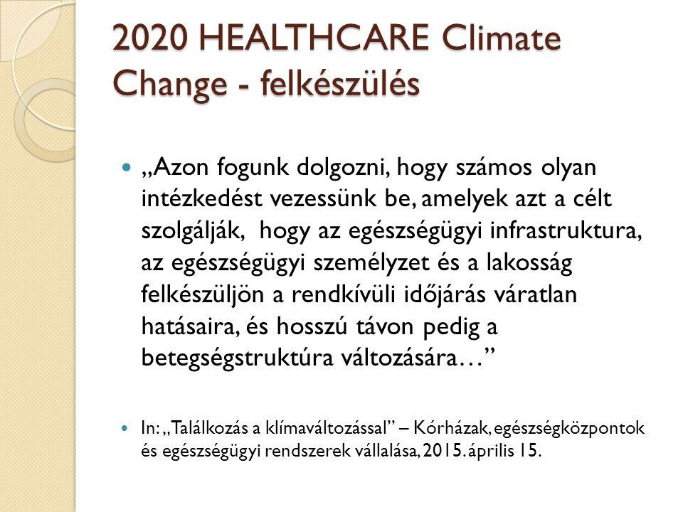 """2020 HEALTHCARE Climate Change - felkészülés """"Azon fogunk dolgozni, hogy számos olyan intézkedést vezessünk be, amelyek azt a célt szolgálják, hogy az egészségügyi infrastruktura, az egészségügyi személyzet és a lakosság felkészüljön a rendkívüli időjárás váratlan hatásaira, és hosszú távon pedig a betegségstruktúra változására… In: """"Találkozás a klímaváltozással – Kórházak, egészségközpontok és egészségügyi rendszerek vállalása, 2015."""