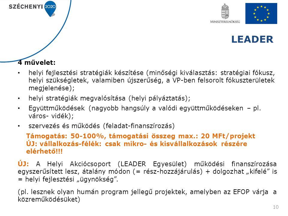 LEADER 4 művelet: helyi fejlesztési stratégiák készítése (minőségi kiválasztás: stratégiai fókusz, helyi szükségletek, valamiben újszerűség, a VP-ben