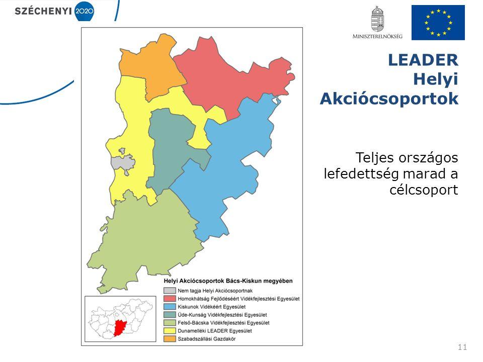 LEADER Helyi Akciócsoportok 11 Teljes országos lefedettség marad a célcsoport
