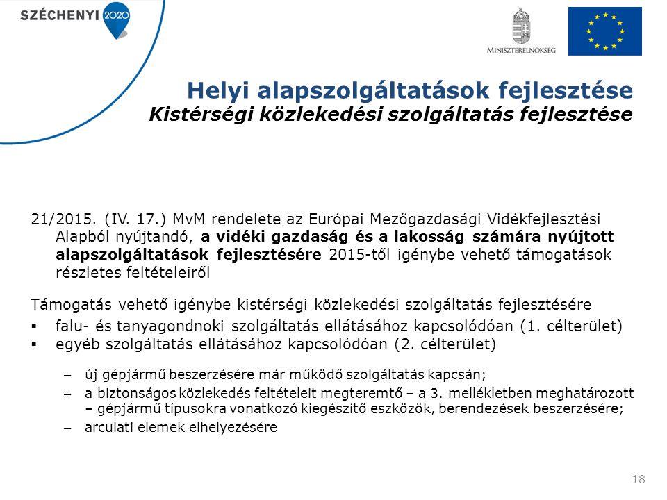 Helyi alapszolgáltatások fejlesztése Kistérségi közlekedési szolgáltatás fejlesztése 21/2015. (IV. 17.) MvM rendelete az Európai Mezőgazdasági Vidékfe