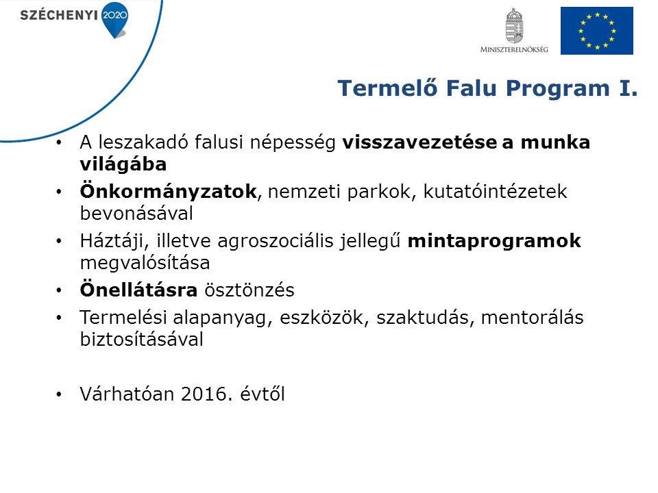 Termelő Falu Program I. A leszakadó falusi népesség visszavezetése a munka világába Önkormányzatok, nemzeti parkok, kutatóintézetek bevonásával Háztáj