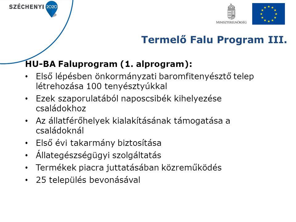 Termelő Falu Program III. HU-BA Faluprogram (1. alprogram): Első lépésben önkormányzati baromfitenyésztő telep létrehozása 100 tenyésztyúkkal Ezek sza