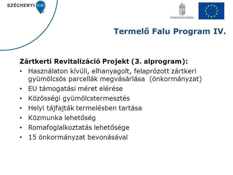 Termelő Falu Program IV. Zártkerti Revitalizáció Projekt (3. alprogram): Használaton kívüli, elhanyagolt, felaprózott zártkeri gyümölcsös parcellák me