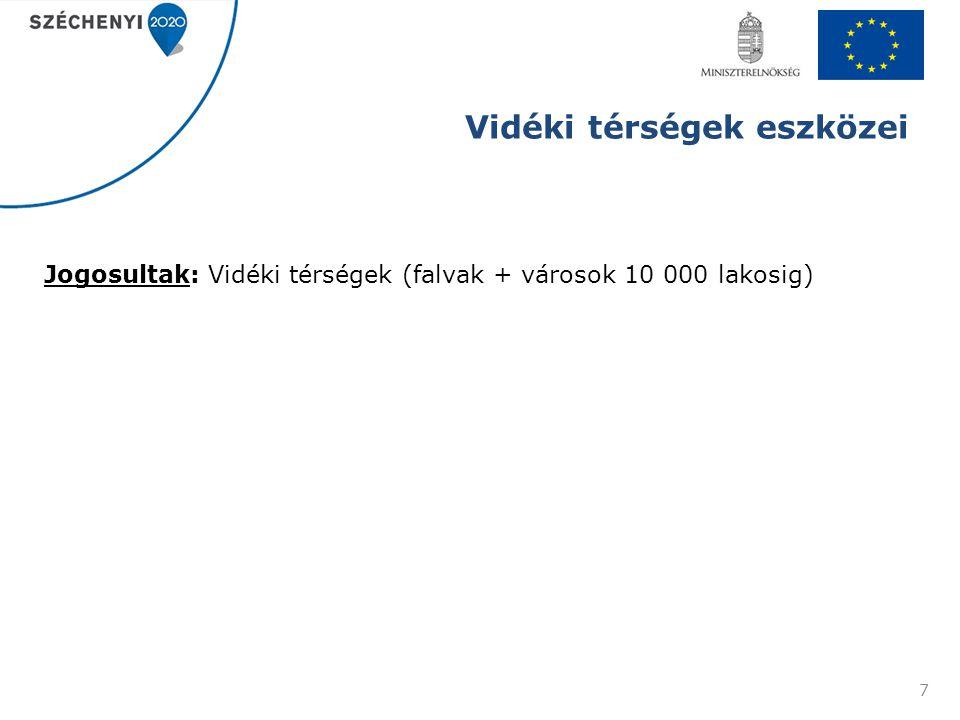 Vidéki térségek eszközei Jogosultak: Vidéki térségek (falvak + városok 10 000 lakosig) 7