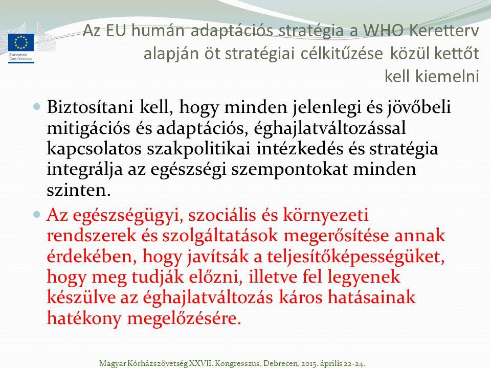 Az EU humán adaptációs stratégia a WHO Keretterv alapján öt stratégiai célkitűzése közül kettőt kell kiemelni Biztosítani kell, hogy minden jelenlegi és jövőbeli mitigációs és adaptációs, éghajlatváltozással kapcsolatos szakpolitikai intézkedés és stratégia integrálja az egészségi szempontokat minden szinten.