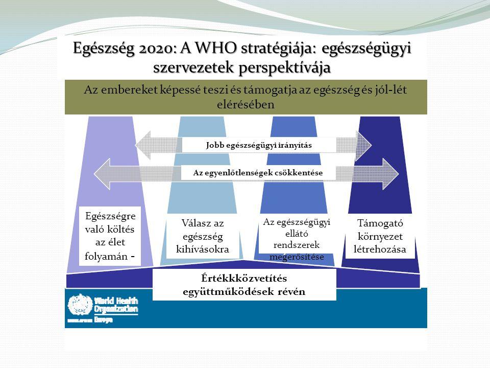 Egészség 2020: A WHO stratégiája: egészségügyi szervezetek perspektívája Az embereket képessé teszi és támogatja az egészség és jól-lét elérésében Az egyenlőtlenségek csökkentése Jobb egészségügyi irányítás Értékkközvetítés együttműködések révén Egészségre való költés az élet folyamán - Válasz az egészség kihívásokra Az egészségügyi ellátó rendszerek megerősítése Támogató környezet létrehozása