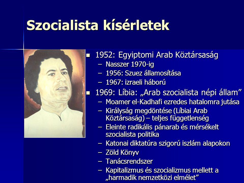 """Szocialista kísérletek 1952: Egyiptomi Arab Köztársaság 1952: Egyiptomi Arab Köztársaság –Nasszer 1970-ig –1956: Szuez államosítása –1967: izraeli háború 1969: Líbia: """"Arab szocialista népi állam 1969: Líbia: """"Arab szocialista népi állam –Moamer el-Kadhafi ezredes hatalomra jutása –Királyság megdöntése (Líbiai Arab Köztársaság) – teljes függetlenség –Eleinte radikális pánarab és mérsékelt szocialista politika –Katonai diktatúra szigorú iszlám alapokon –Zöld Könyv –Tanácsrendszer –Kapitalizmus és szocializmus mellett a """"harmadik nemzetközi elmélet"""