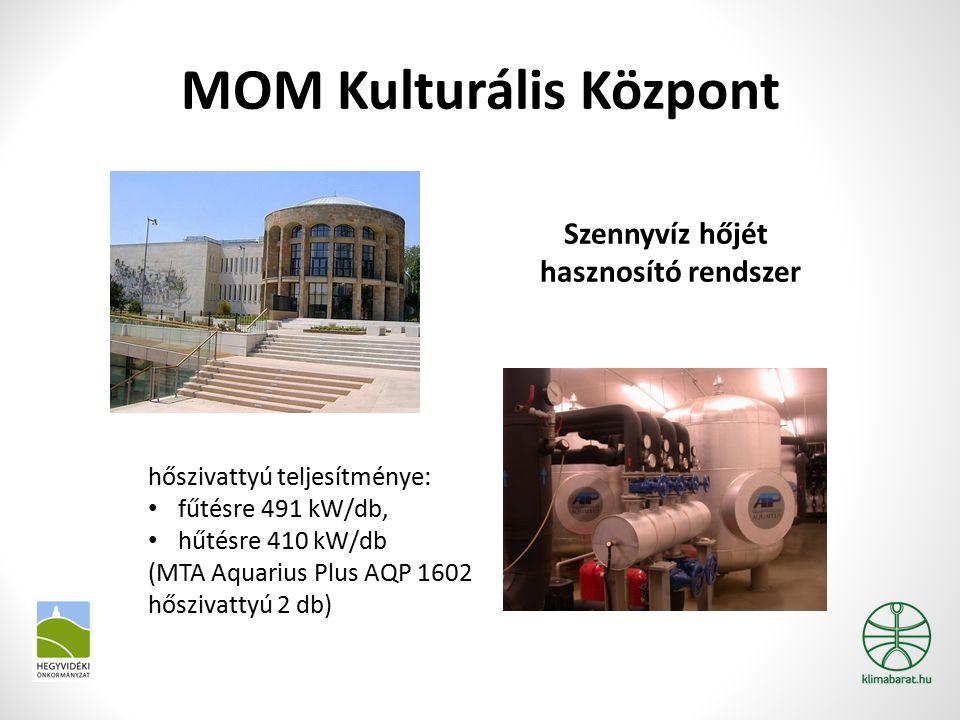 MOM Kulturális Központ Szennyvíz hőjét hasznosító rendszer hőszivattyú teljesítménye: fűtésre 491 kW/db, hűtésre 410 kW/db (MTA Aquarius Plus AQP 1602 hőszivattyú 2 db)