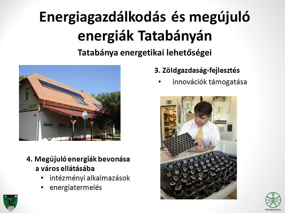 Energiagazdálkodás és megújuló energiák Tatabányán Tatabánya energetikai lehetőségei 4. Megújuló energiák bevonása a város ellátásába intézményi alkal